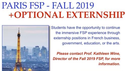 Fall 2019 Paris FSP with Optional Externship