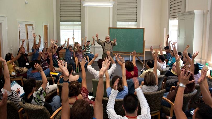 John A. Rassias, Professor of French and Italian, teaches the Rassias method of language